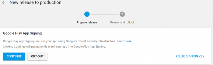 Create an application signature using Google Play App
